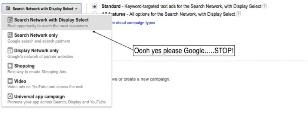 Google search network settings